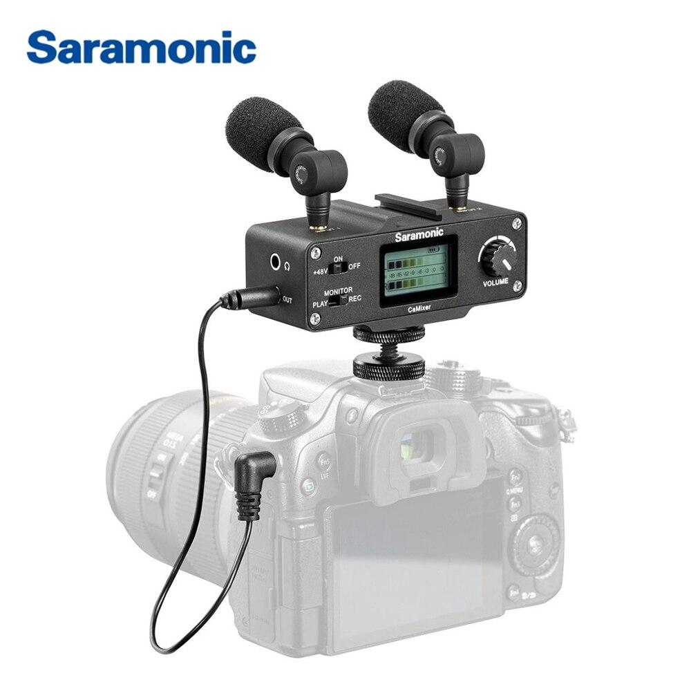 Saramonic CaMixer Microphone vidéo double condenseur stéréo mélangeur numérique 48 V alimentation fantôme préampli pour appareils photo et caméscopes DSLR