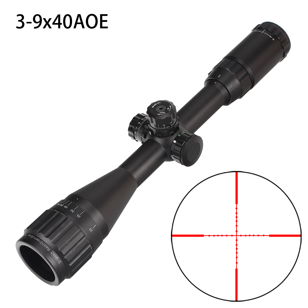 Hunting 3-9X40 AO Riflescope Tactical Optical Sight Full Size Mil Dot Red Green Blue llluminate Reticle Turrets Lock Rifle Scope compact m7 4x30 rifle scope red green mil dot reticle with side attached red laser sight tactical optics scopes riflescope