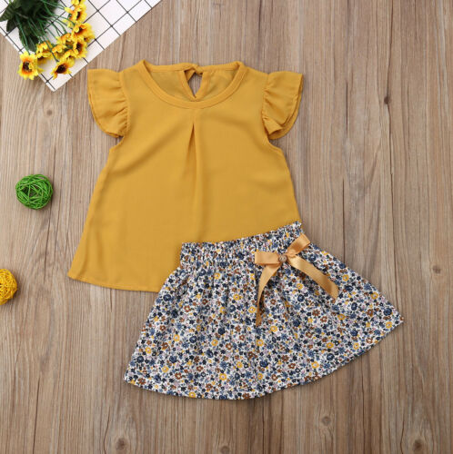Kids Baby Girl Summer Sleeveless T-Shirt Blouse Tops+Lace Skirt Set Outfit Dress