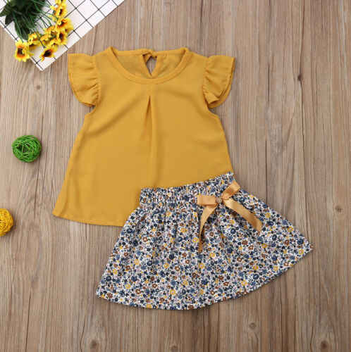1-6Y Toddler Kids Baby Girl Embroidery Flower T-shirt Ruffle Skirts Outfit Dress