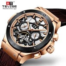 TEVISE ساعة اليد رجالي كبير الرجال التلقائي ساعة ميكانيكية رجل أسبوع شهر التقويم المطاط الذكور ساعة ساعة للرجال T828B 2020