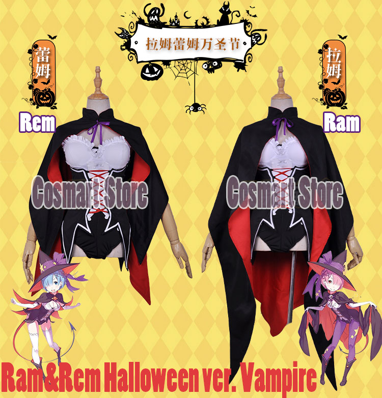 [Stock]Anime Re: Life a Different World from Zero Ram Rem Halloween ver. Vampire Cosplay Costumes for women free shipping