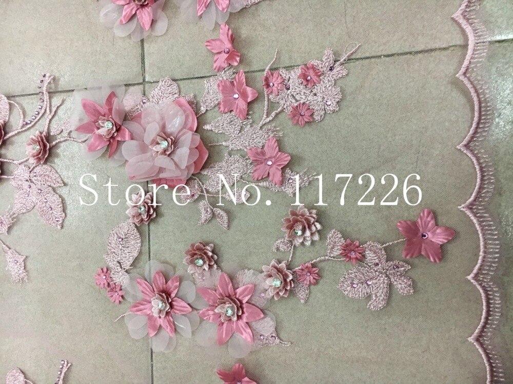 Tissu de dentelle à la mode 3d fleur tissu de dentelle française avec des perles de verre et de grandes pierres - 3