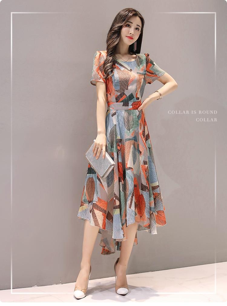 2018 Summer Printed Women Dress Geometrical Hem Side Split Ladies Dresses Tie Sashes Short Sleeve Casual Sexy Female Vestidos