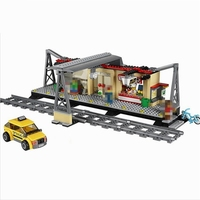 Lepin In Stock 02015 City Trains Train Station With Rail Track Taxi 456Pcs Building Block Set