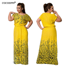 5XL 6XL Plus Size Floral Print Long Dress Maxi Spring Summer Big Size Women Beach Dress Vintage Evening Large Size Robe Vestidos