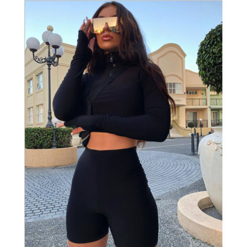 2019 Women Sweatsuit Two Piece Set Sportswear Slim Fit Vest Bodycon Shorts Short Sleeve Tank Top Sport Suit Pullover Letter Crew Neck 901 From