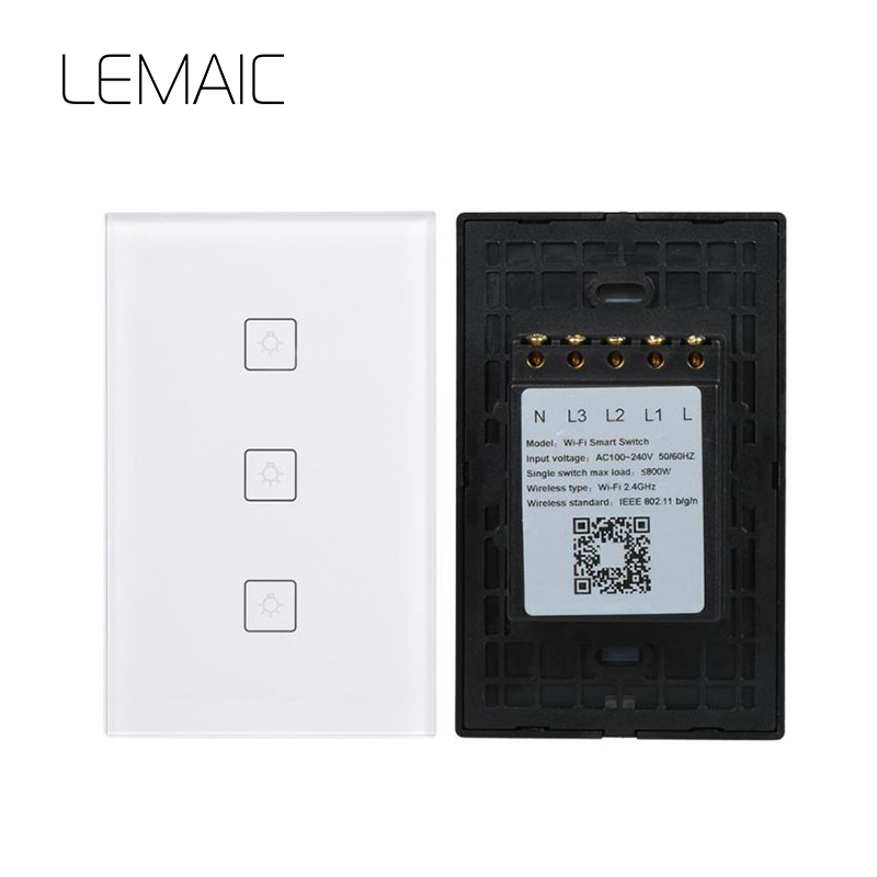 LEMAIC WiFi Smart Home Timing Voice Remote Control Switch Light Wall US 3 gang For APP Control Touch Switch Work With Alexa wireless wifi switch smart home automation module timer diy light wall switch app control work with amazon alexa voice control