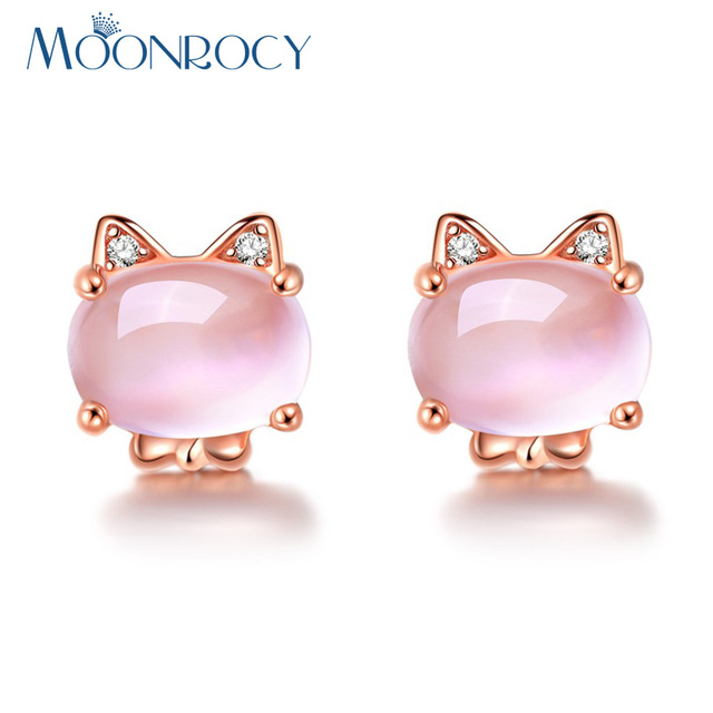 Moonrocy Drop Shipping Rose Gold Color Cubic Zirconia Ross Quartz Cute Cat Animal Pink Opal Earrings