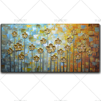 Modern Modular Picture Canvas Painting Gold Flower Wall Art Home Decoration No Frame Room Decor 1 Piece
