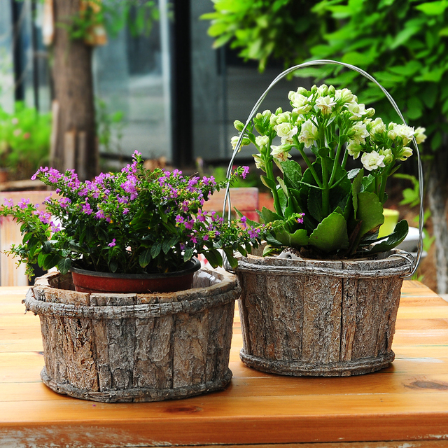 Free Shipping Quality Nature Basswood 2pcs Pair Flower Pot 100