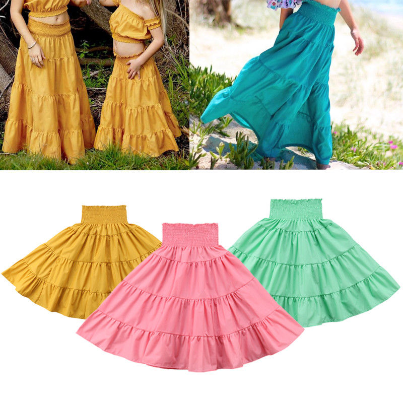 Fashion Toddler Kids Girls Maxi Skirts Casual Summer Elastic High Waist Boho Maxi Long Skirt Sundress Beachwear back lace up cross crop top and high waist maxi skirt twinset