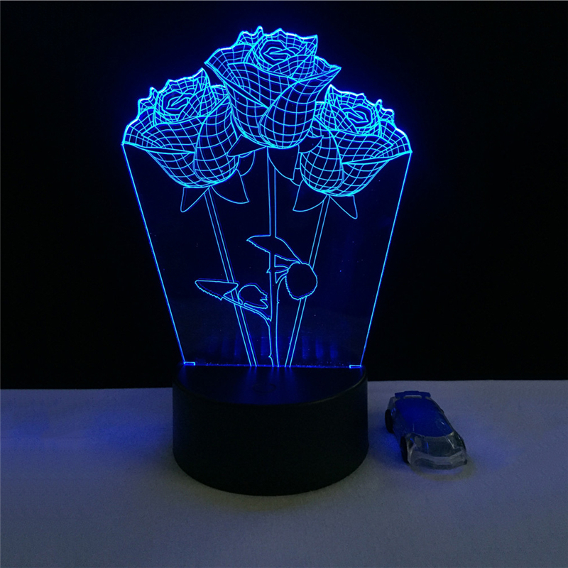 Acrylic 7 Color Rose 3D Flower LED nightlight of bedroom lamp livingroom lights desk table Decoration Night Light Kids Gift