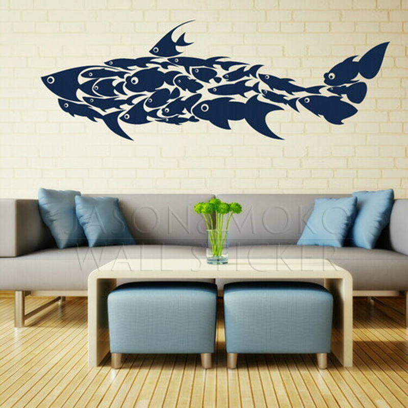 Large Shark Little Fish Decals Interior Wall Stickers