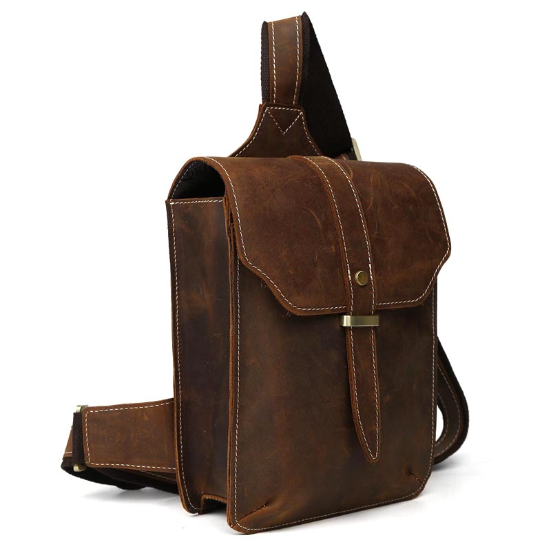 TIDING Crazy horse genuine leather sling tote back pack for men ...