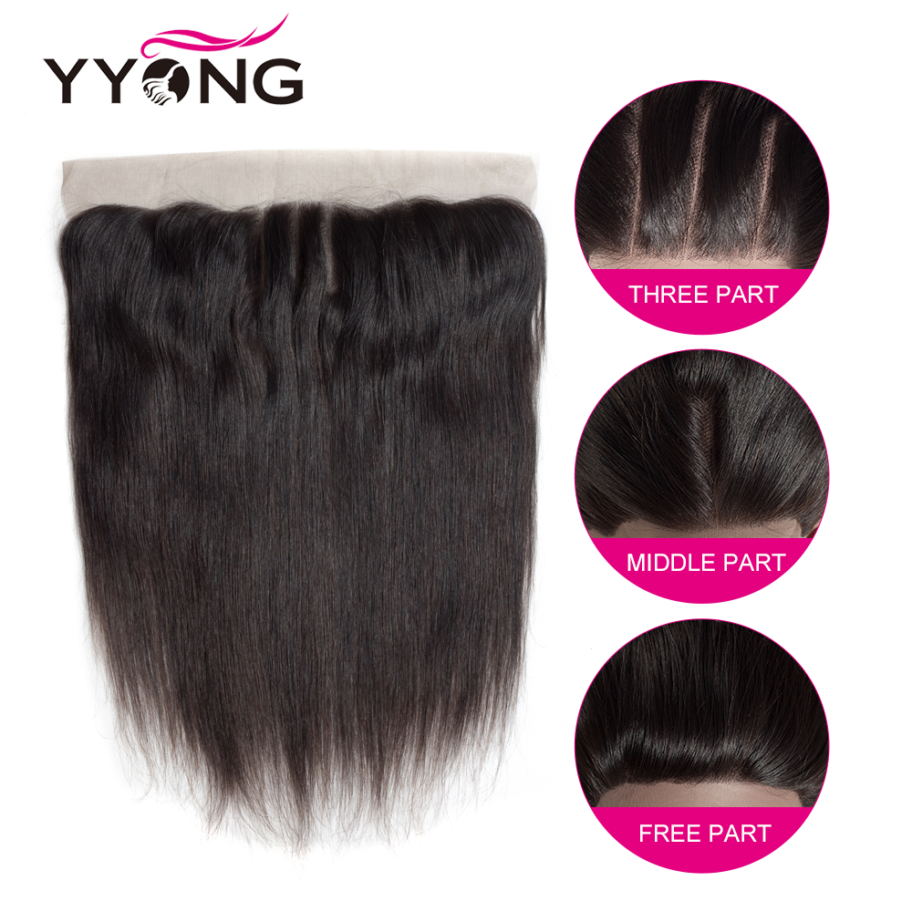 Yyong Hair  Straight Lace Frontal Closure 13*4 Ear To Ear Free/Middle/Three Part Swiss Lace Closure   4