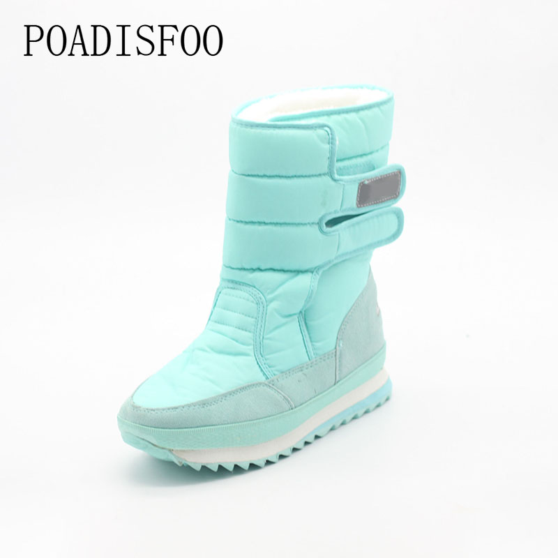 2017 Women Winter Boots Shoes Snow boots Blue Warm Snow Boots Down Plus Size 35~42 Non-slip Platform winter boots Shoes .xz-29 platform bowkont flocking snow boots page 5