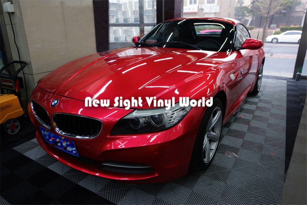 High Quality Glossy Red Metallic Vinyl Car Wrap Shinny Red