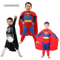 Hero Movie Superman Costumes Kids Boys Cosplay Jumpsuits With Cloaks Children Halloween Fancy Party Super Man