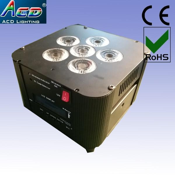 Անվճար առաքում 2019 տաք մինի բնակելի մարտկոց սնուցվում է 6 * 18w 6in1 rgbwa + ուլտրամանուշակագույն անլար dmx led բեմի հարթ par can կարող լուսավորողներ 8 հատ / Լոտ