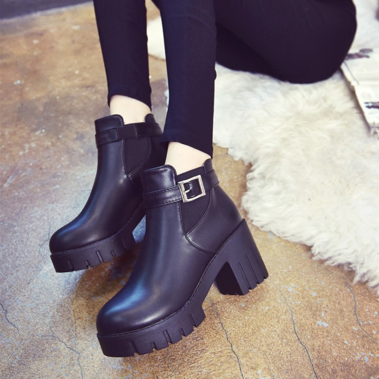 GOXPACER 2018 New British Style Shoes Women Autumn Ankle Boots High Heel Women Boots Casual Boots Martin Shoe All Match Platform