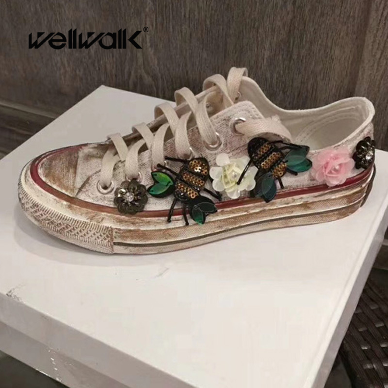 Wellwalk Butterfly Sequin Ornament Canvas for women lace up Vulcanized Shoes for student graffiti walking shoe for girl sneakers