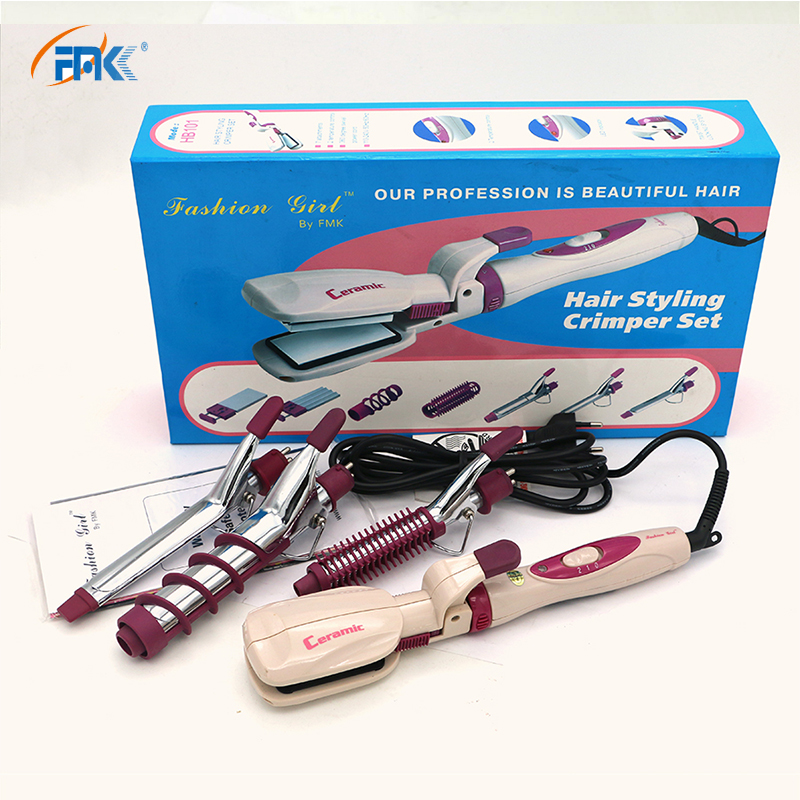 FMK 4 In 1 Flat Iron Professional Curling Irons 3 Wands Hair Crimper Set + Hair Straightening Irons Hairs Styling Tools HB101 z050 2 in 1 hair straightener curling styling tools kemei professional ceramic flat irons pranchas de cabelo straightening iron