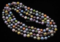 140cm multicolor 7-8mm freshwater pearl necklace free shipping