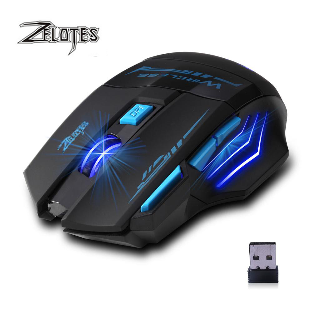 Image 2 - ZELOTES F14 2400 DPI 7 Buttons LED Optical Computer Mouse Wireless 2.4G Wireless Gaming Mouse Breathing Lights for PC laptopMice   - AliExpress