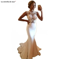 Vestido novia encaje 2019 new lace satin to see ivory sexy mermaid African wedding dress 2 in 1 cheap bride dresses custom