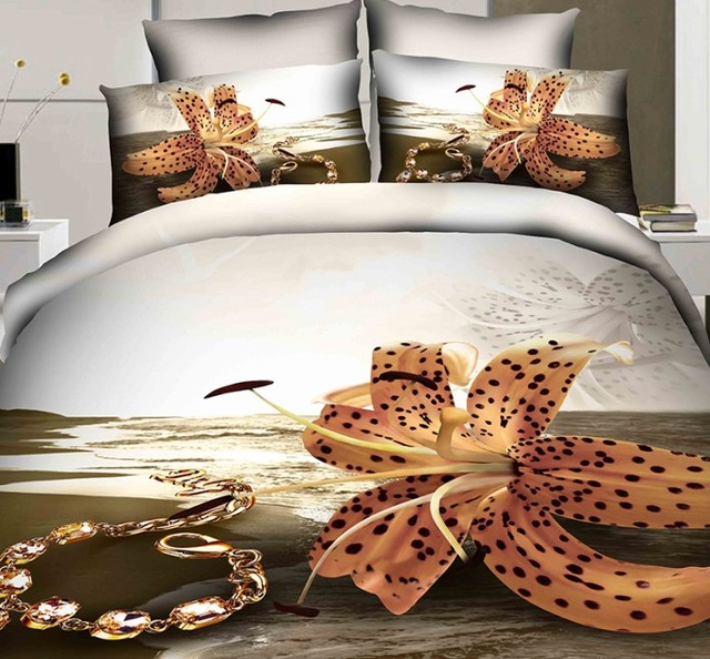 3D Beach Duvet Cover Bedding Set Quilt Fitted Cotton Bed Sheets Sea Floral California  King Size