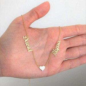 Image 4 - الخامس جذب الذهب مزدوجة أسماء القلب BFF قلادة مجوهرات مخصصة شخصية اسم قلادة للنساء الزفاف هدية BFF طوق Mujer