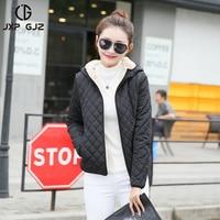 JXP GJZ Autumn Winter Women Jacket Coat Parka Black Zipper Full Sleeve Lightweight Hooded Parkas Regular