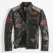 2017 черная кожаная мотоциклетная куртка мужская стенд воротник плюс Размеры XXXL Короткие Slim Fit мужские зимние толстые байкерская куртка Бесплатная доставка