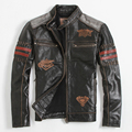 FREE SHIPPING 2017 New Black Leather Motorcycle Jacket Men Stand Collar Genuine Cowhide Short Slim Fit Men Winter Biker Coat