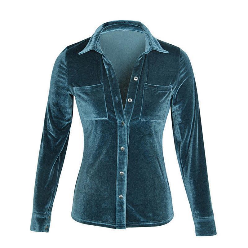 Female Shirt Solid Velvet Long-sleeved Lapels Button Shiny Fleece Fabric Button Sexy Woman Blouse Lapel V-Neck Stripes Sexy