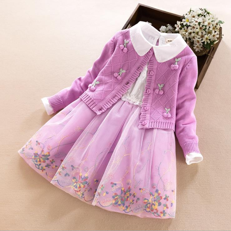 Europe and the United States 2018 autumn The new Parent-child outfit Long sleeve Cherry coat Embroidered gauze dress Girl's suit long sleeve embroidered swing dress