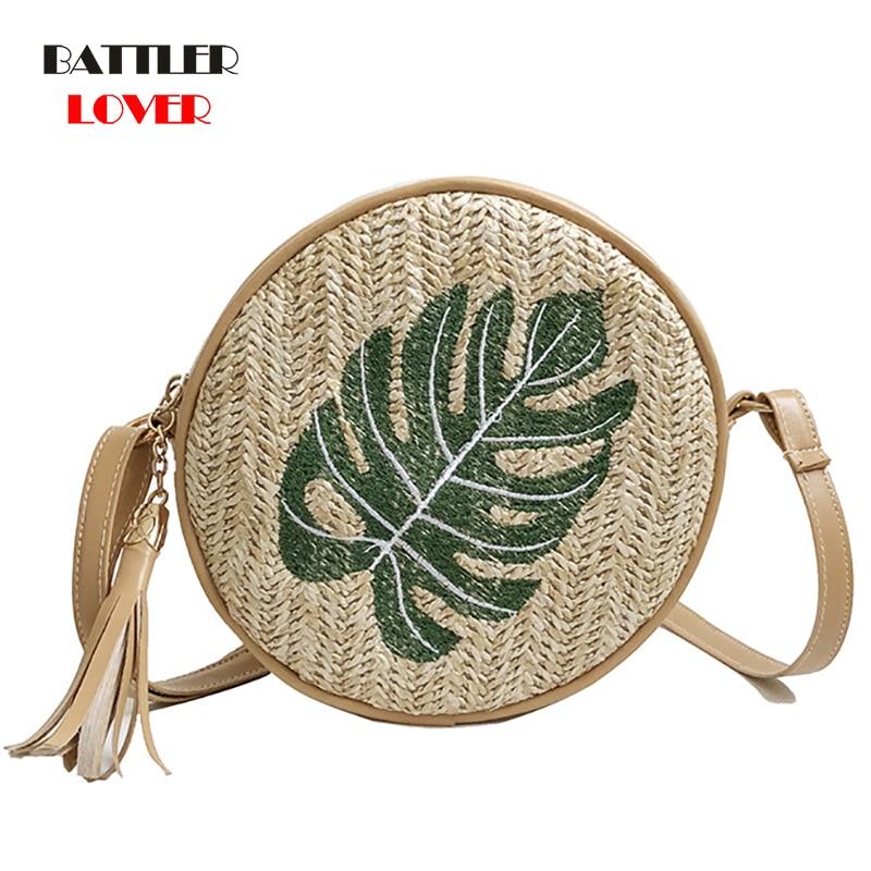 Vintage Handmade Rattan Woven Shoulder Bags Womens PU Leather Straps Zipper Holiday Beach Crossbody Bag Messengers Women Handbag