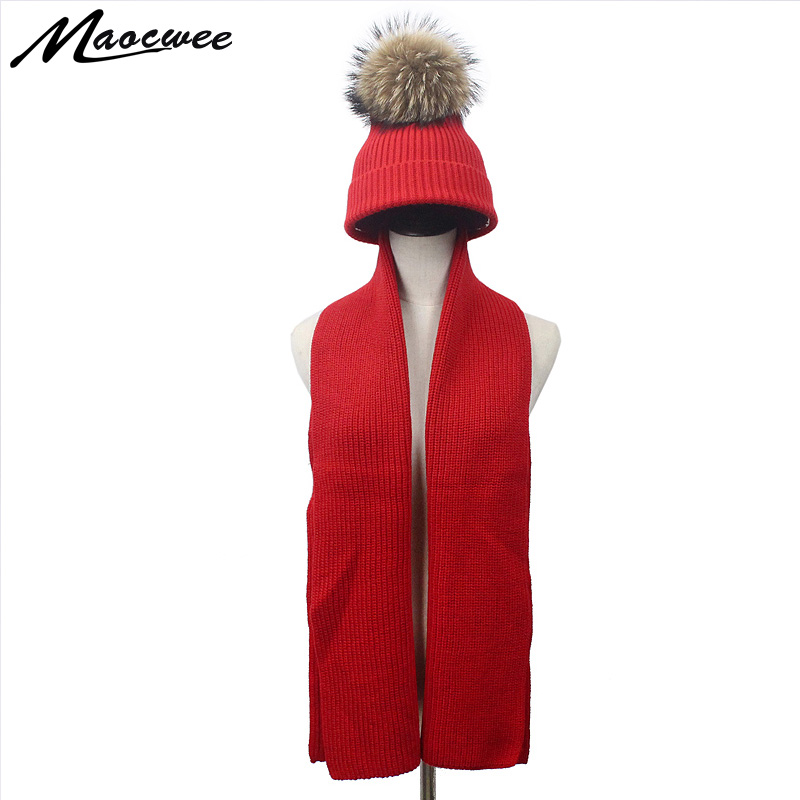 70c8a4953dd Autumn Winter Girl Boy Women Real Fur Pompom Wool Knitted Hat and Scarf  Parent-child Warm Soft Solid Black Red Pom Pom Hat Bones