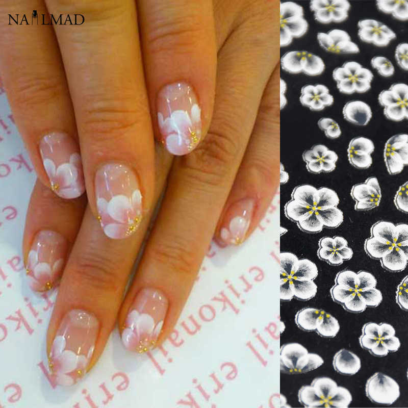 1 foglio Del Fiore Nail Art Stickers White Lace Nail Sticker Fiore Acrilico Adesivi Nail Decalcomanie Oro Rosa Nail Stickers