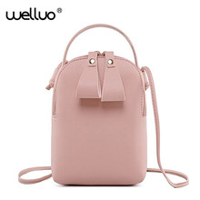 Cell Phone Bag Women Mini Leather Mobile Messenger Bags Small Shoulder Bag Portable Strap Coin Purse Girls Crossbody Bag XA52B(China)