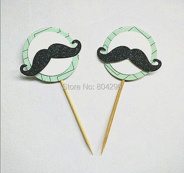 Free Shipping Glitter Cute Tie and Mustache Cake Decoration Baby