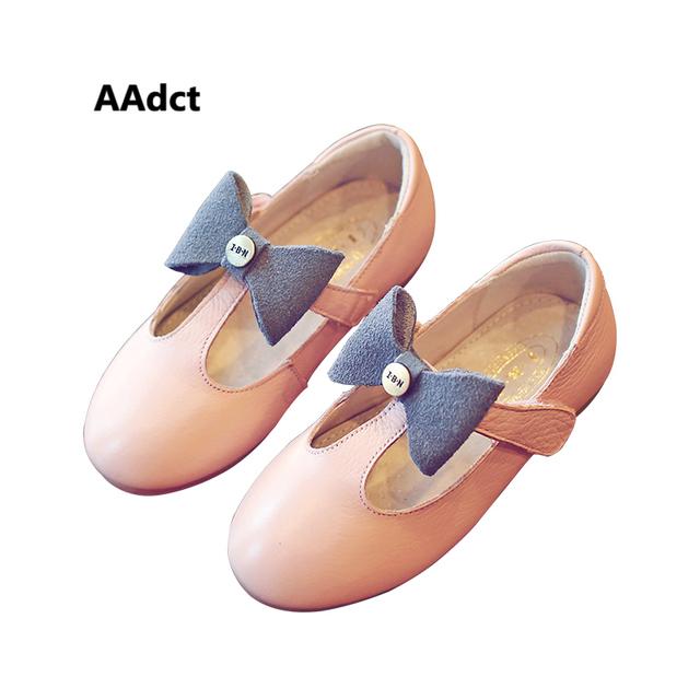 Aadct nova primavera meninas shoes moda arco único de couro real kids shoes crianças sola macia do bebê da criança shoes f dança