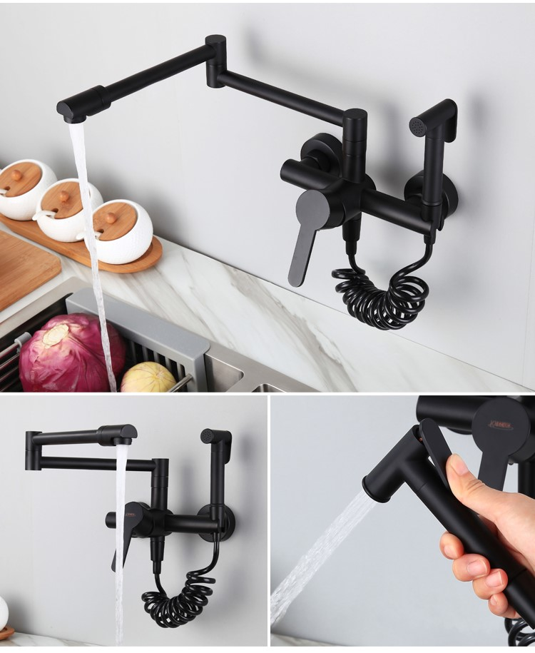 Wall mounted brass kitchen sink faucet Black Multifunctional kitchen mixer faucet with brass handheld sprayer,Rotatable FoldableWall mounted brass kitchen sink faucet Black Multifunctional kitchen mixer faucet with brass handheld sprayer,Rotatable Foldable