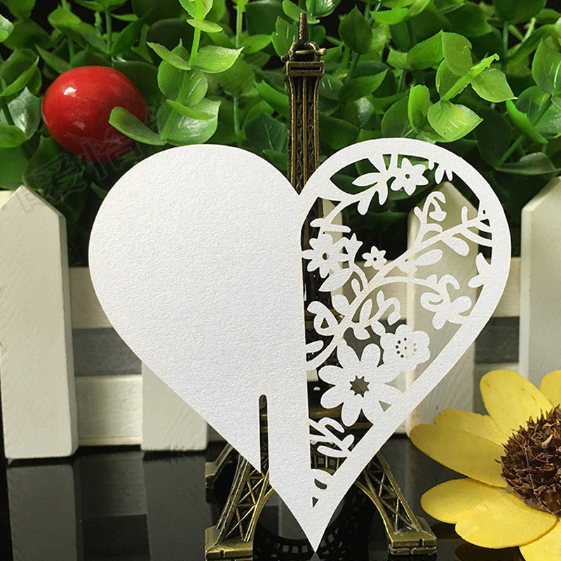 10 Color 50pcs Laser Cut Love Heart Paper Place Card  Escort Card  Cup Card Wine Glass Card For Wedding Decoration Favors