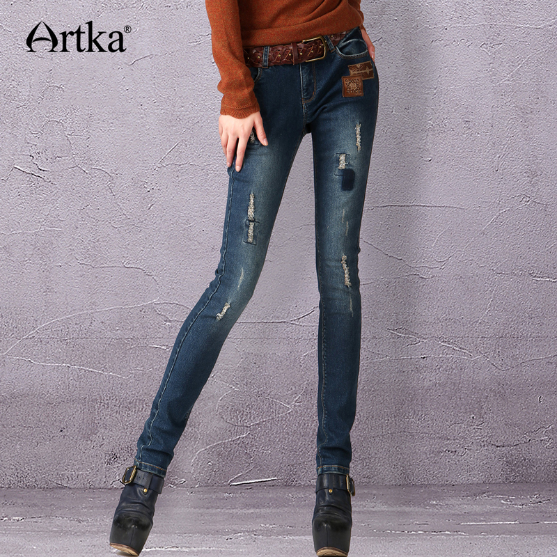ARTKA Women's Summer Casual Vintage Middle Waist Embroidery Bleached Patchwork Skinny Pencil   Jeans   KN16343Q