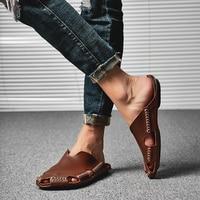 CNFIIA Male Slippers Handmade Beach Shoes Men Slippers Men Fashion Brown Black Plus Size 45 46 Non Slip Quality Footwear 2019