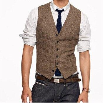 Vintage Braunem Tweed Westen Wolle Fischgrat Britischen Stil Nach