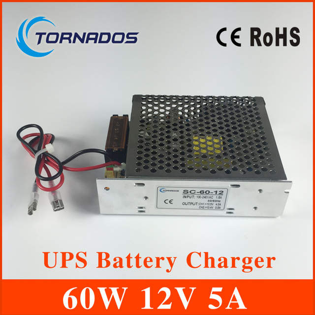 SC-60-12 60W 12V 5A universal AC UPS/Charge function monitor switching  power supply 13 8v, battery charger 2 year warranty