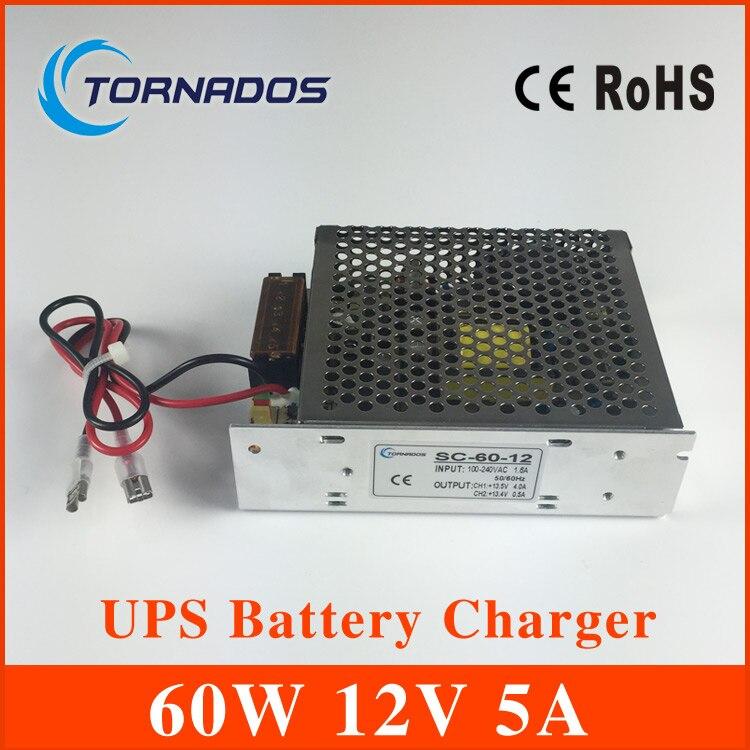 Sc-60-12 60 Вт 12 В 5A Универсальный AC <font><b>UPS</b></font>/зарядки функции монитора импульсный источник питания 13.8 В, зарядное устройство 2 года гарантии